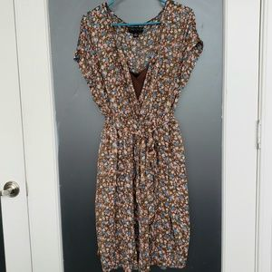 Floral chiffon dress with included brown slip